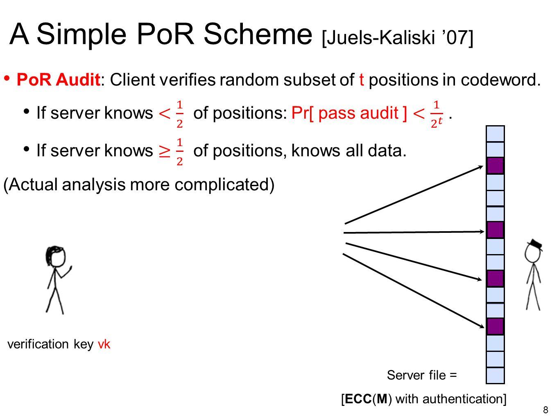8 A Simple PoR Scheme [Juels-Kaliski '07] Server file = [ECC(M) with authentication] verification key vk