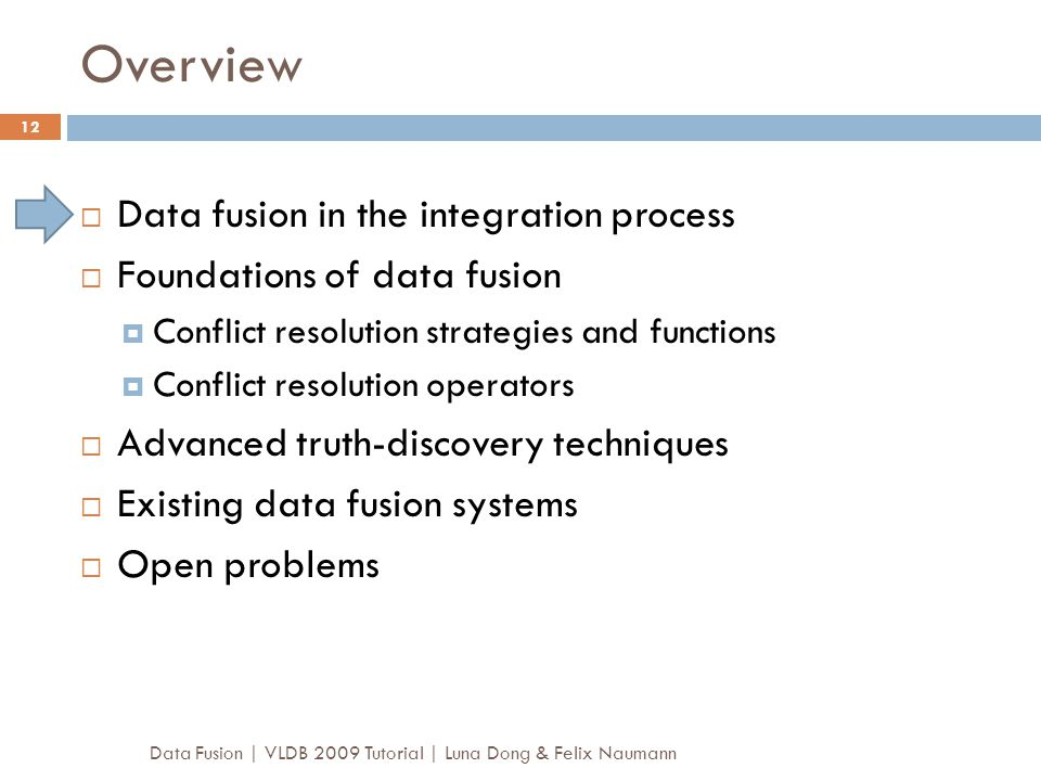 Overview Data Fusion | VLDB 2009 Tutorial | Luna Dong & Felix Naumann 12  Data fusion in the integration process  Foundations of data fusion  Confl