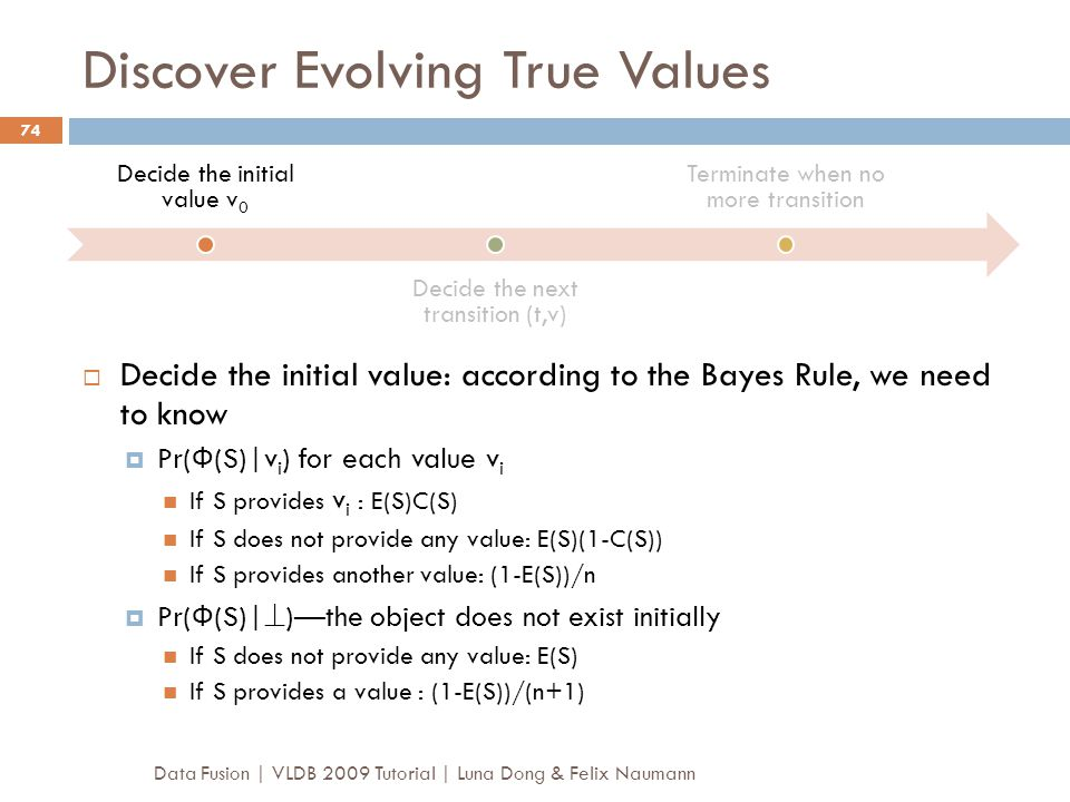Discover Evolving True Values  Decide the initial value: according to the Bayes Rule, we need to know  Pr( Ф (S)|v i ) for each value v i If S provi