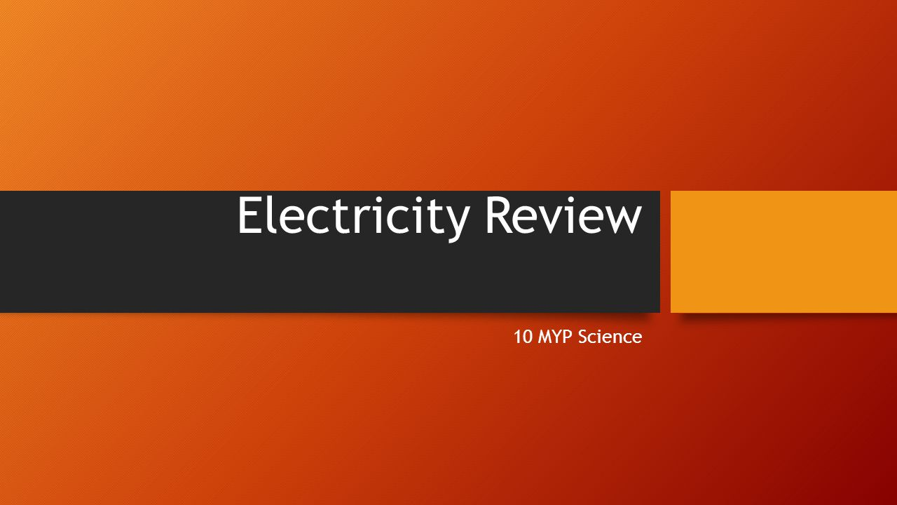 Electricity Review 10 MYP Science