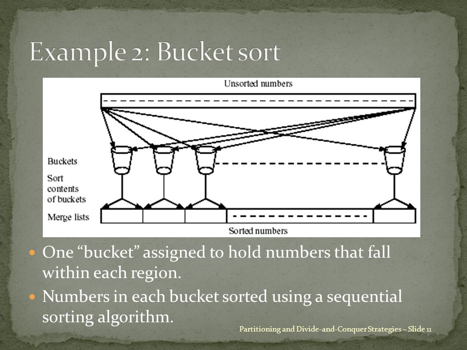 """One """"bucket"""" assigned to hold numbers that fall within each region. Numbers in each bucket sorted using a sequential sorting algorithm. Partitioning a"""