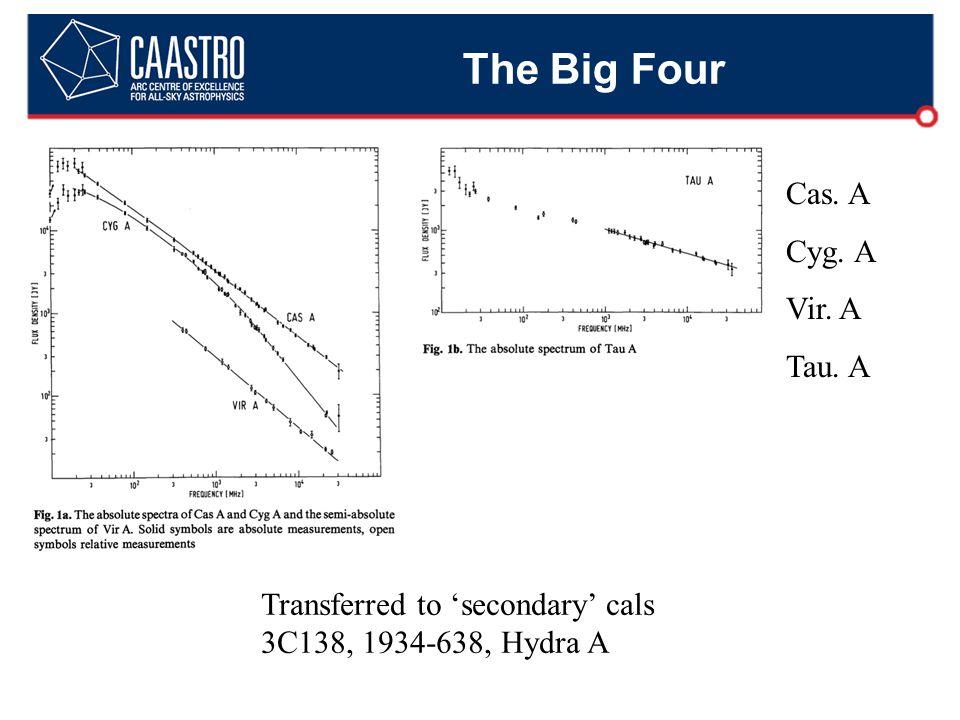 The Big Four Transferred to 'secondary' cals 3C138, 1934-638, Hydra A Cas. A Cyg. A Vir. A Tau. A
