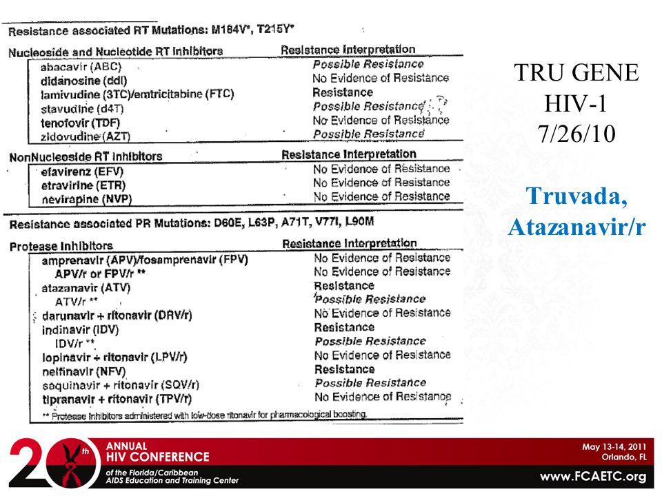 TRU GENE HIV-1 7/26/10 Truvada, Atazanavir/r