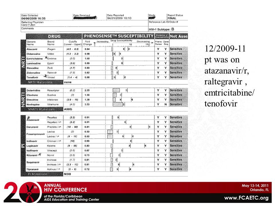 12/2009-11 pt was on atazanavir/r, raltegravir, emtricitabine/ tenofovir