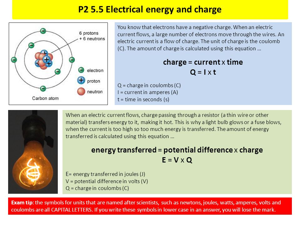 P2 5.5 Electrical energy and charge You know that electrons have a negative charge. When an electric current flows, a large number of electrons move t
