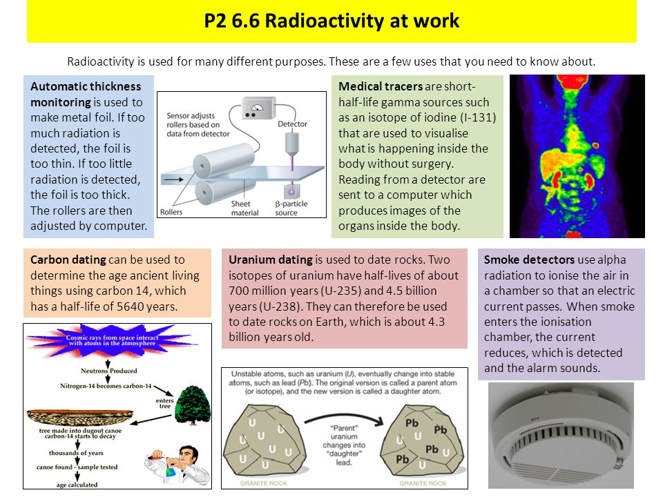 P2 6.6 Radioactivity at work Radioactivity is used for many different purposes. These are a few uses that you need to know about. Medical tracers are