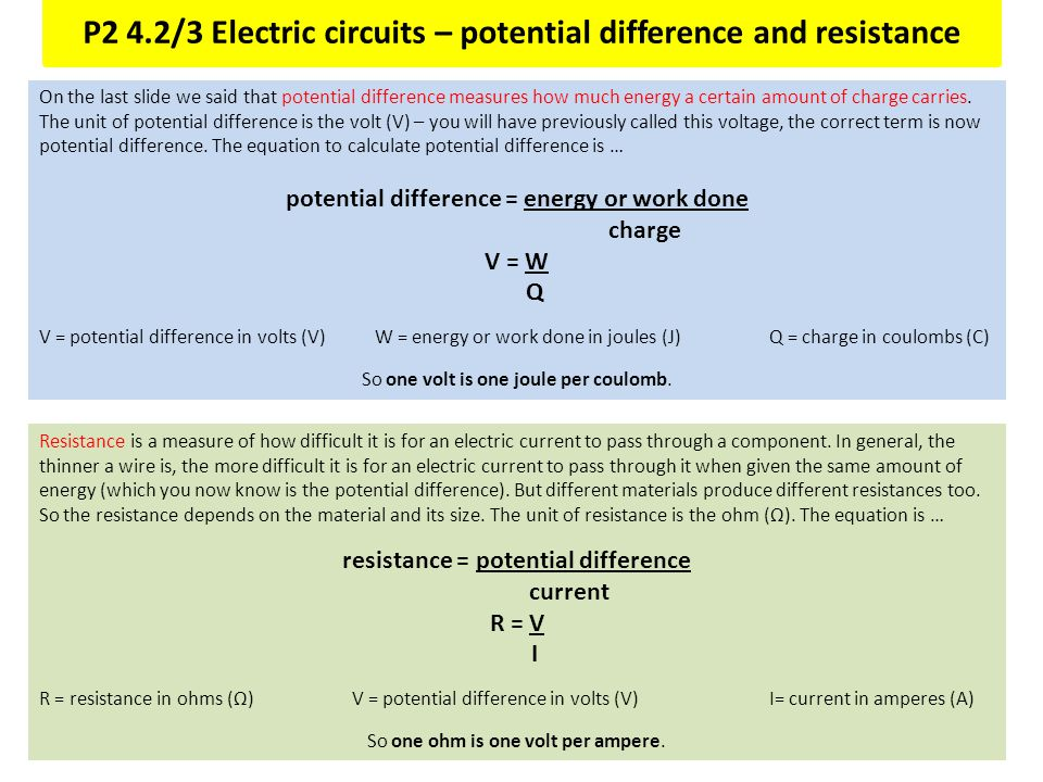 P2 4.2/3 Electric circuits – potential difference and resistance On the last slide we said that potential difference measures how much energy a certai