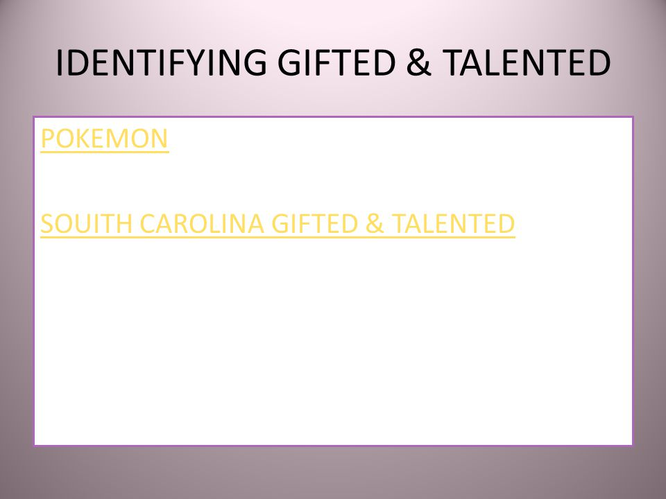 GIFTEDNESS AND TALENTEDNESS School Age Children Who Give Evidence of High Performance Capability in Intellectual, Creative, Academic, Leadership, or i