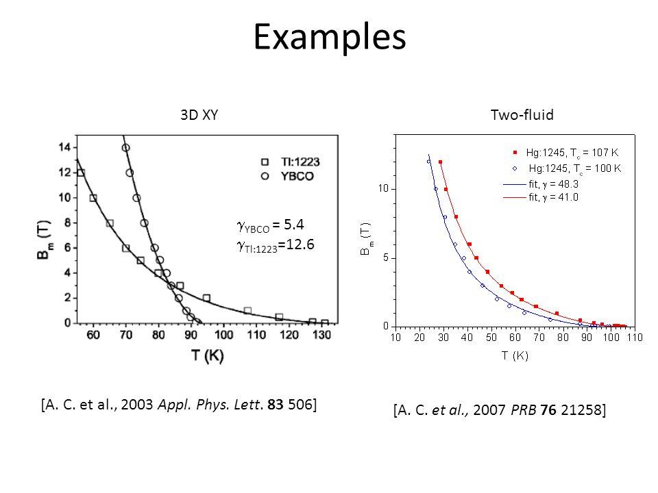 Examples Two-fluid3D XY [A. C. et al., 2003 Appl.