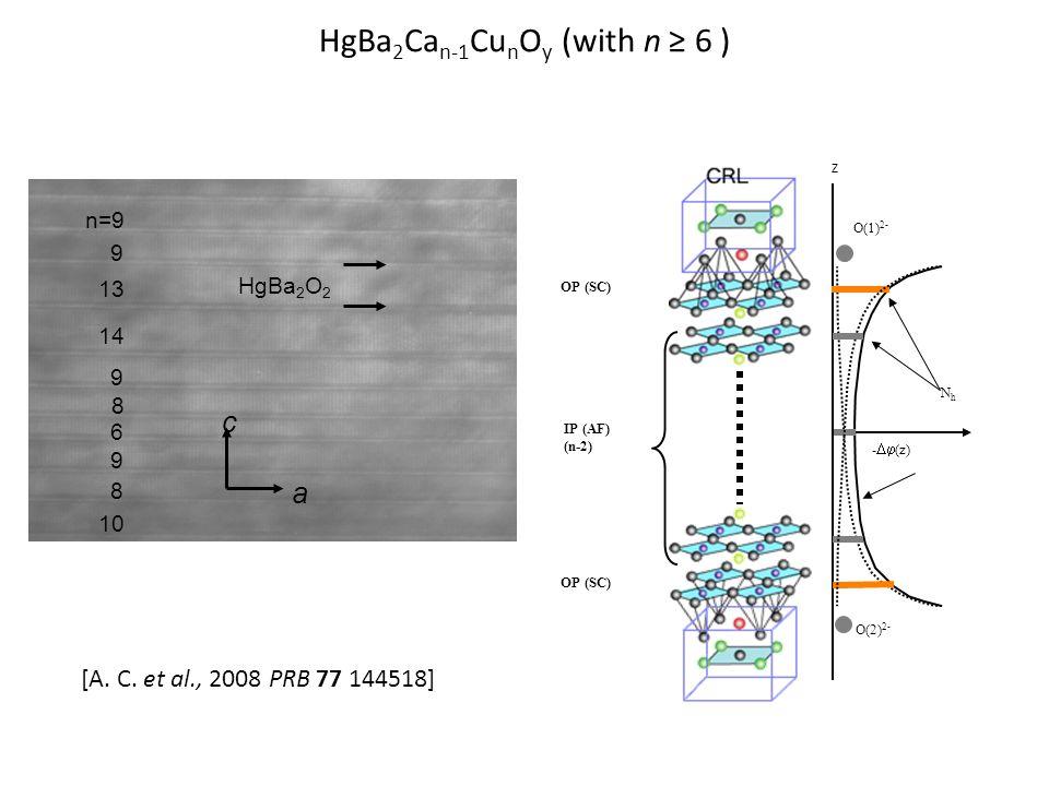 HgBa 2 Ca n-1 Cu n O y (with n ≥ 6 ) n=9 HgBa 2 O 2 9 13 14 9 8 6 8 9 10 a c -  (z) NhNh O(1) 2- O(2) 2- Z OP (SC) IP (AF) (n-2) OP (SC) [A.