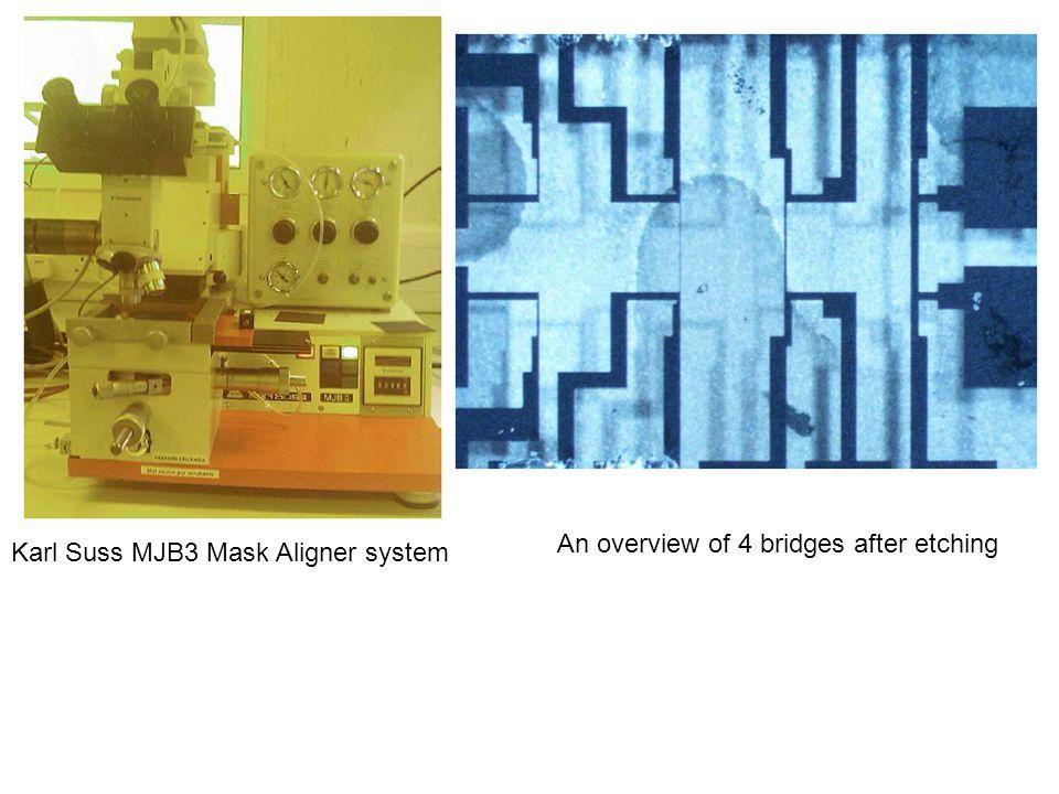 Karl Suss MJB3 Mask Aligner system An overview of 4 bridges after etching