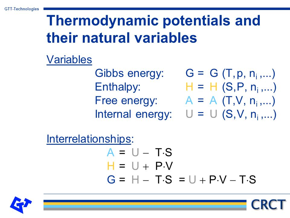 GTT-Technologies Maxwell-relations: Thermodynamic potentials and their natural variables P P T T SUV HA G SV and