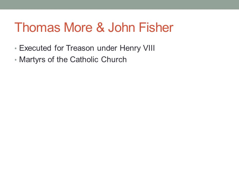 Thomas More & John Fisher Executed for Treason under Henry VIII Martyrs of the Catholic Church