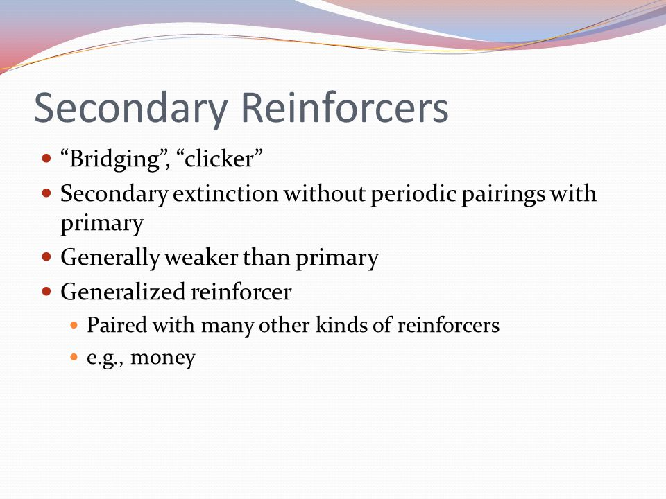 "Secondary Reinforcers ""Bridging"", ""clicker"" Secondary extinction without periodic pairings with primary Generally weaker than primary Generalized rein"