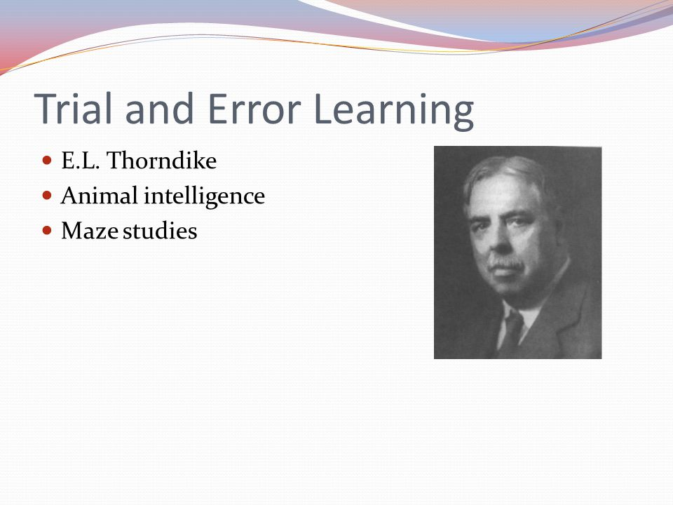 Trial and Error Learning E.L. Thorndike Animal intelligence Maze studies