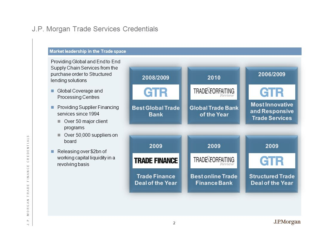 J.P. Morgan Trade Services Credentials Providing Global and End to End Supply Chain Services from the purchase order to Structured lending solutions G