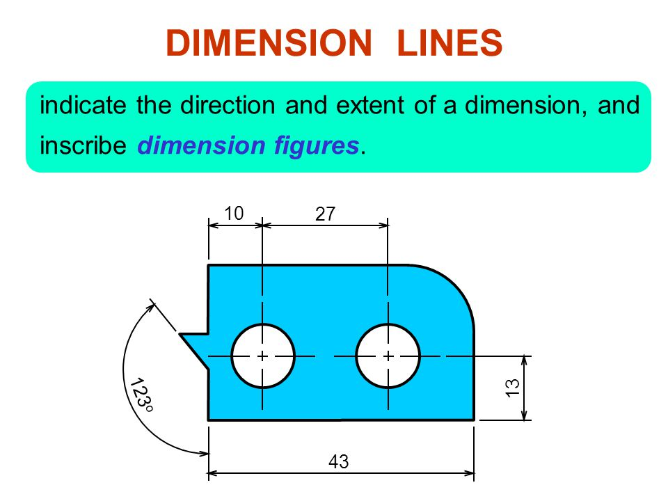 DIMENSION LINES indicate the direction and extent of a dimension, and inscribe dimension figures.