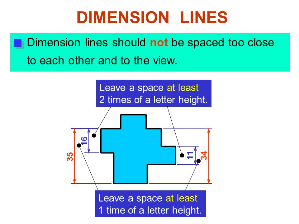 Dimension lines should not be spaced too close to each other and to the view.