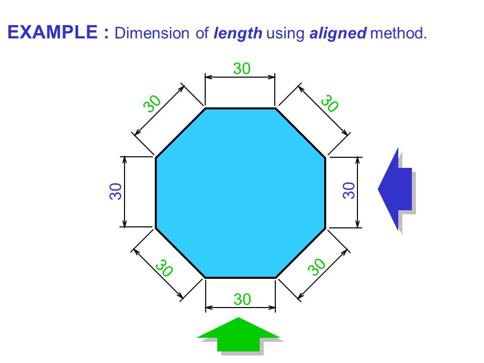 30 EXAMPLE : Dimension of length using aligned method.