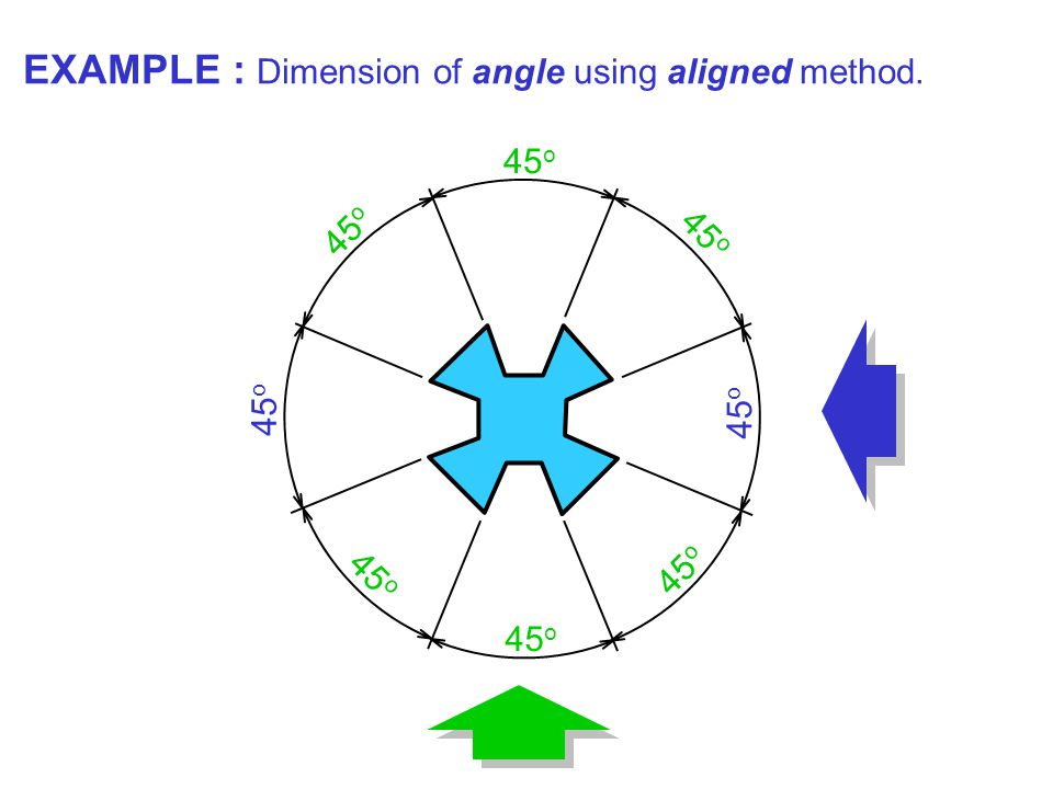 45 o EXAMPLE : Dimension of angle using aligned method.