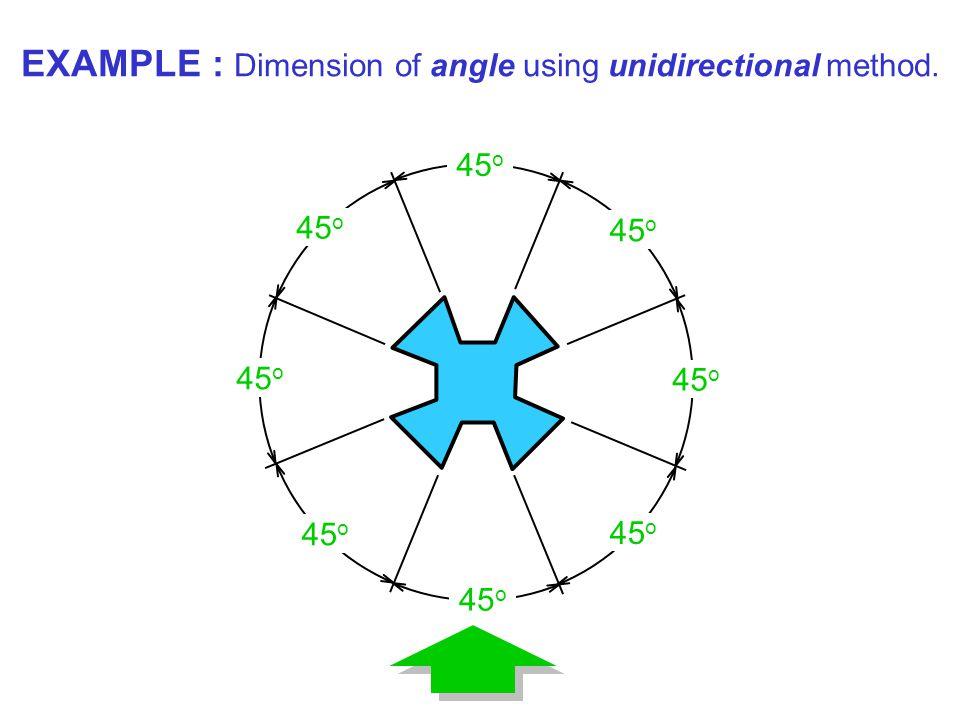 45 o EXAMPLE : Dimension of angle using unidirectional method.