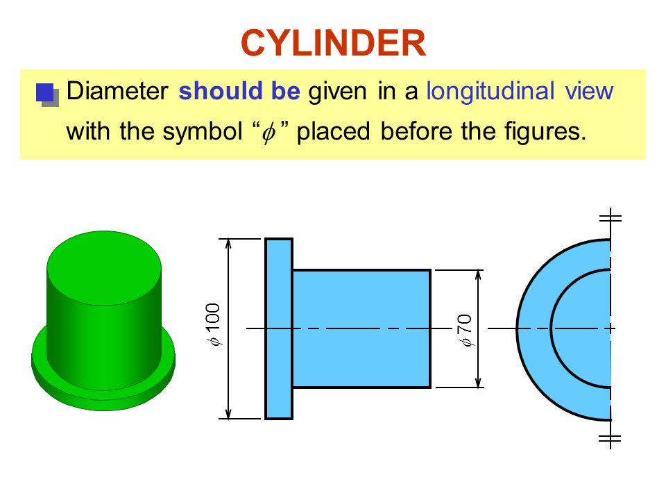  100  70 CYLINDER Diameter should be given in a longitudinal view with the symbol  placed before the figures.