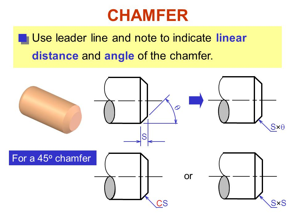 CHAMFER Use leader line and note to indicate linear distance and angle of the chamfer. S  S  For a 45 o chamfer S CSCS or