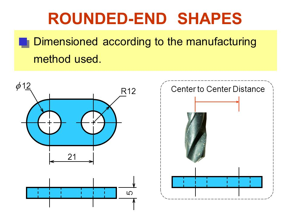 ROUNDED-END SHAPES R12   12 21 5 Dimensioned according to the manufacturing method used.
