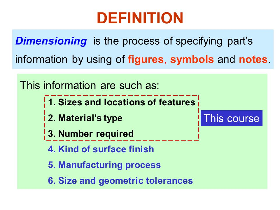 DEFINITION Dimensioning is the process of specifying part's information by using of figures, symbols and notes. This information are such as: 1. Sizes