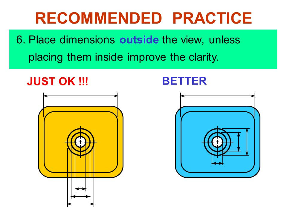 JUST OK !!! BETTER RECOMMENDED PRACTICE 6. Place dimensions outside the view, unless placing them inside improve the clarity.