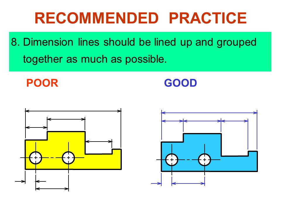 8.Dimension lines should be lined up and grouped together as much as possible.