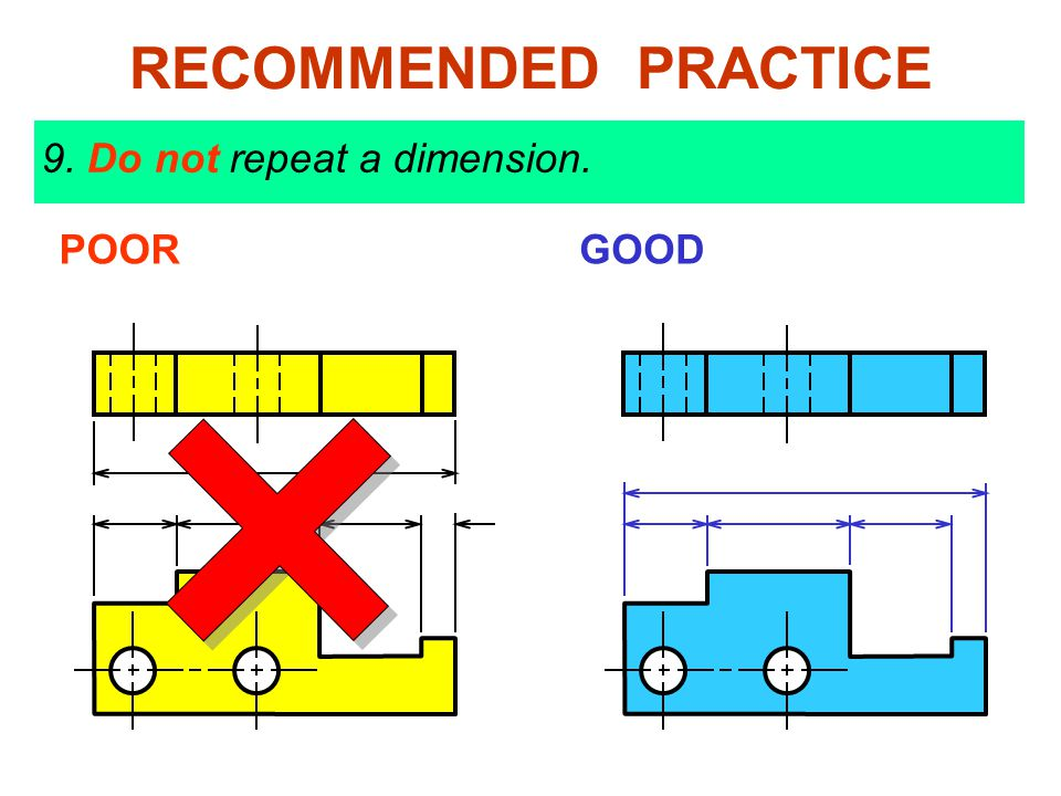 9. Do not repeat a dimension. POORGOOD RECOMMENDED PRACTICE