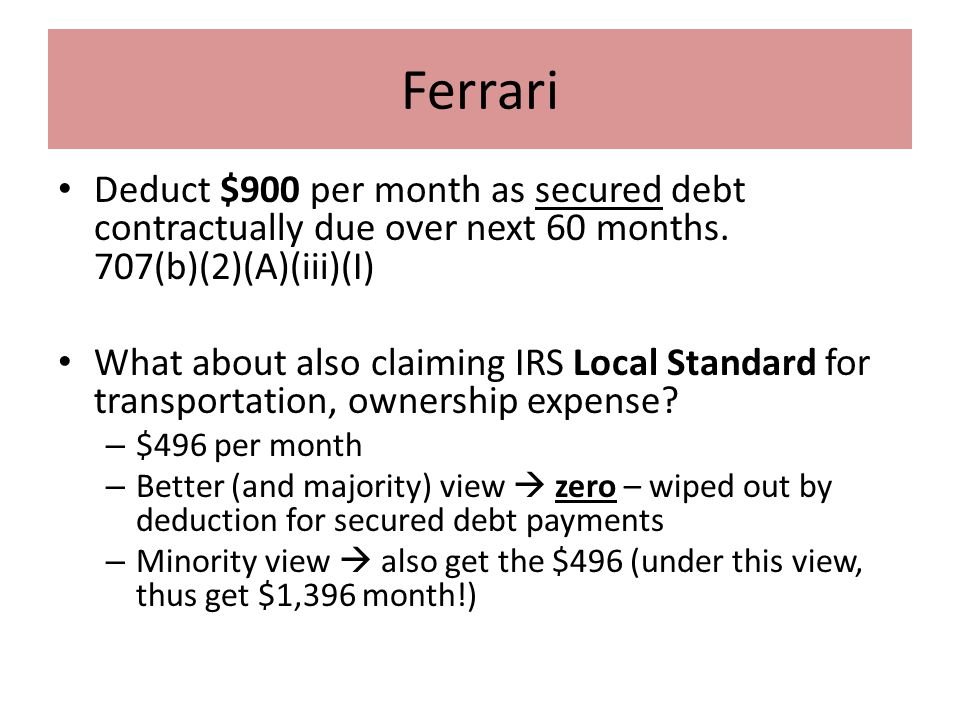 Ferrari Deduct $900 per month as secured debt contractually due over next 60 months.