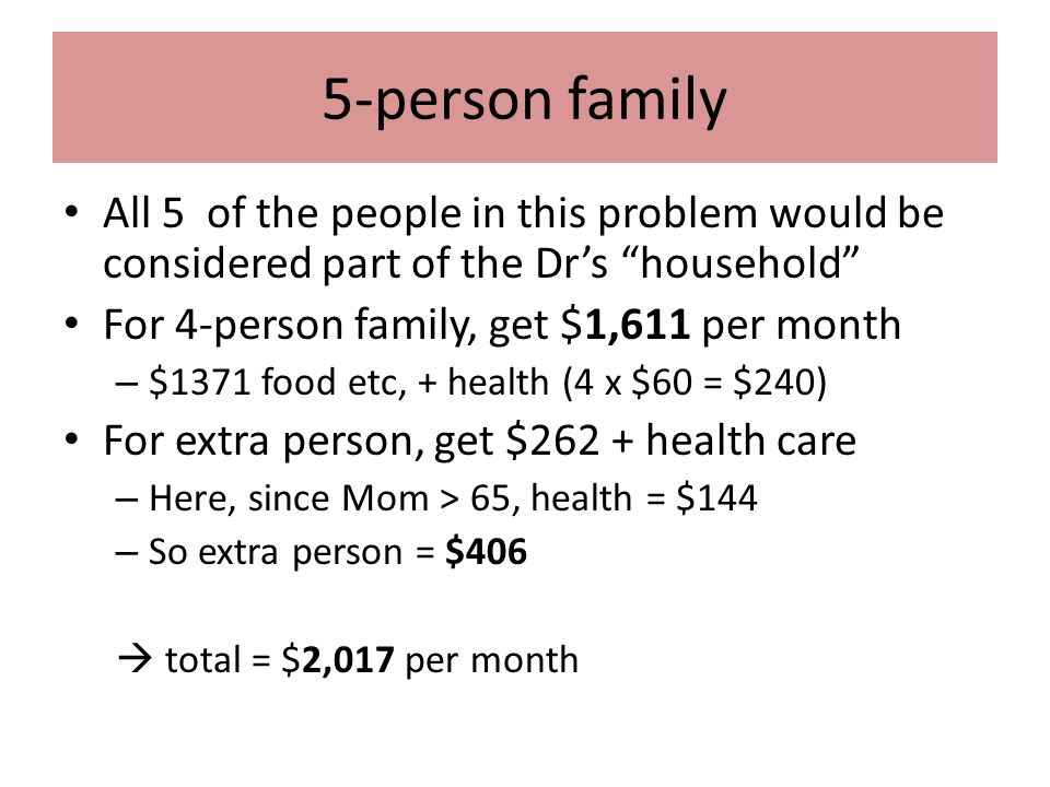 5-person family All 5 of the people in this problem would be considered part of the Dr's household For 4-person family, get $1,611 per month – $1371 food etc, + health (4 x $60 = $240) For extra person, get $262 + health care – Here, since Mom > 65, health = $144 – So extra person = $406  total = $2,017 per month