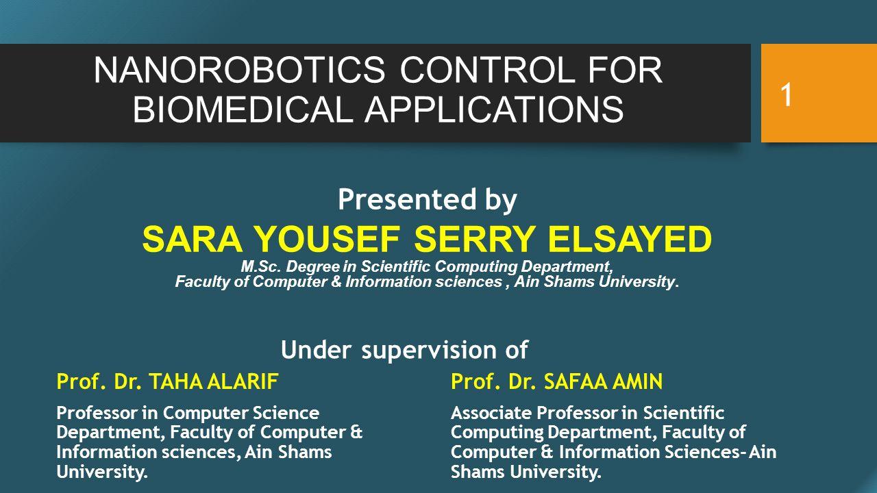 NANOROBOTICS CONTROL FOR BIOMEDICAL APPLICATIONS Presented by SARA YOUSEF SERRY ELSAYED M.Sc.