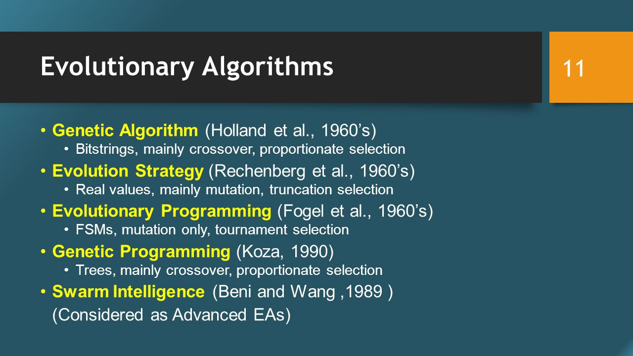 Evolutionary Algorithms Genetic Algorithm (Holland et al., 1960's) Bitstrings, mainly crossover, proportionate selection Evolution Strategy (Rechenberg et al., 1960's) Real values, mainly mutation, truncation selection Evolutionary Programming (Fogel et al., 1960's) FSMs, mutation only, tournament selection Genetic Programming (Koza, 1990) Trees, mainly crossover, proportionate selection Swarm Intelligence (Beni and Wang,1989 ) (Considered as Advanced EAs) 11