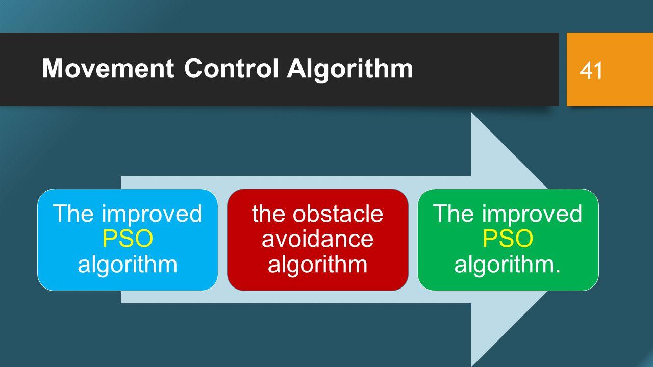 Movement Control Algorithm 41 The improved PSO algorithm the obstacle avoidance algorithm The improved PSO algorithm.