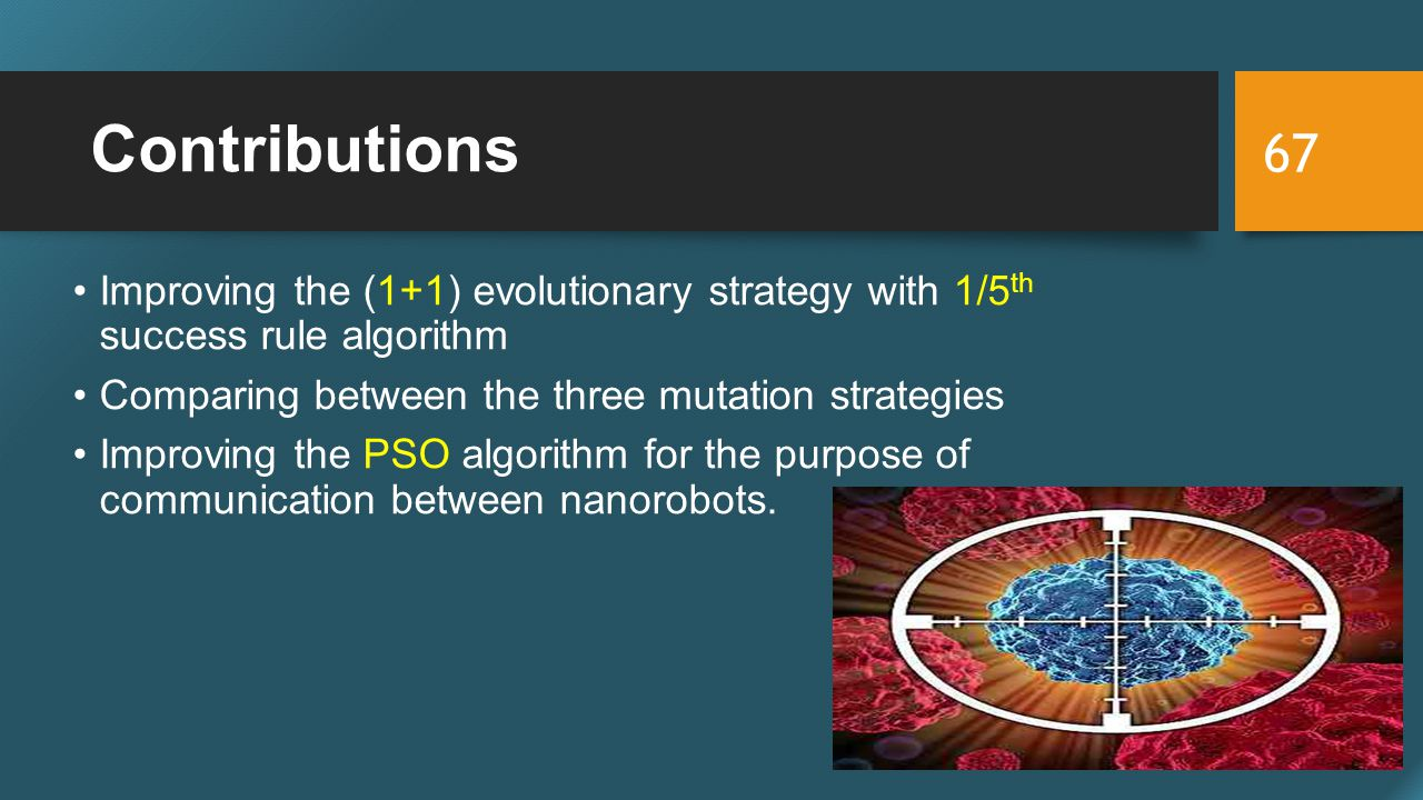 Contributions Improving the (1+1) evolutionary strategy with 1/5 th success rule algorithm Comparing between the three mutation strategies Improving the PSO algorithm for the purpose of communication between nanorobots.