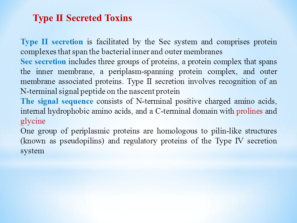 Type II Secreted Toxins Type II secretion is facilitated by the Sec system and comprises protein complexes that span the bacterial inner and outer mem