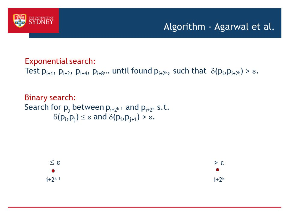 Algorithm - Agarwal et al. Exponential search: Test p i+1, p i+2, p i+4, p i+8 … until found p i+2 k, such that  (p i,p i+2 k ) > . Binary search: S