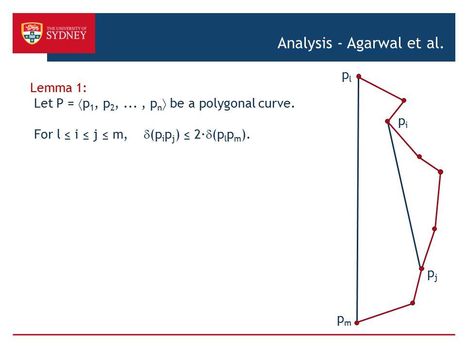 Analysis - Agarwal et al.Lemma 1: Let P =  p 1, p 2,..., p n  be a polygonal curve.