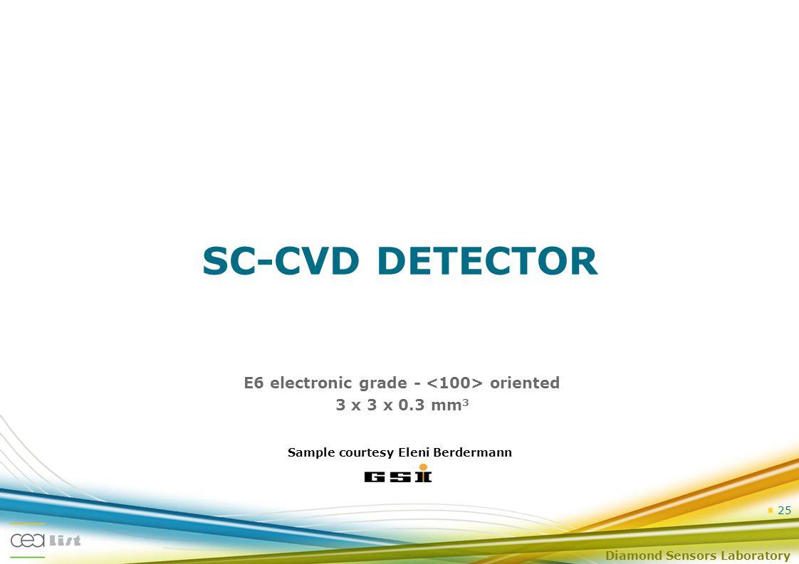 Diamond Sensors Laboratory 25 SC-CVD DETECTOR E6 electronic grade - oriented 3 x 3 x 0.3 mm 3 Sample courtesy Eleni Berdermann
