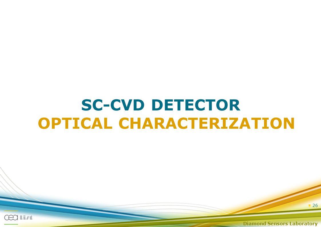 Diamond Sensors Laboratory 26 SC-CVD DETECTOR OPTICAL CHARACTERIZATION