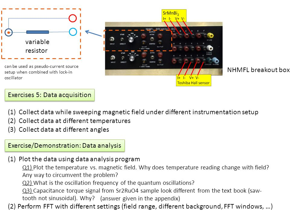 Exercise/Demonstration: Data analysis Exercises 5: Data acquisition (1)Collect data while sweeping magnetic field under different instrumentation setu