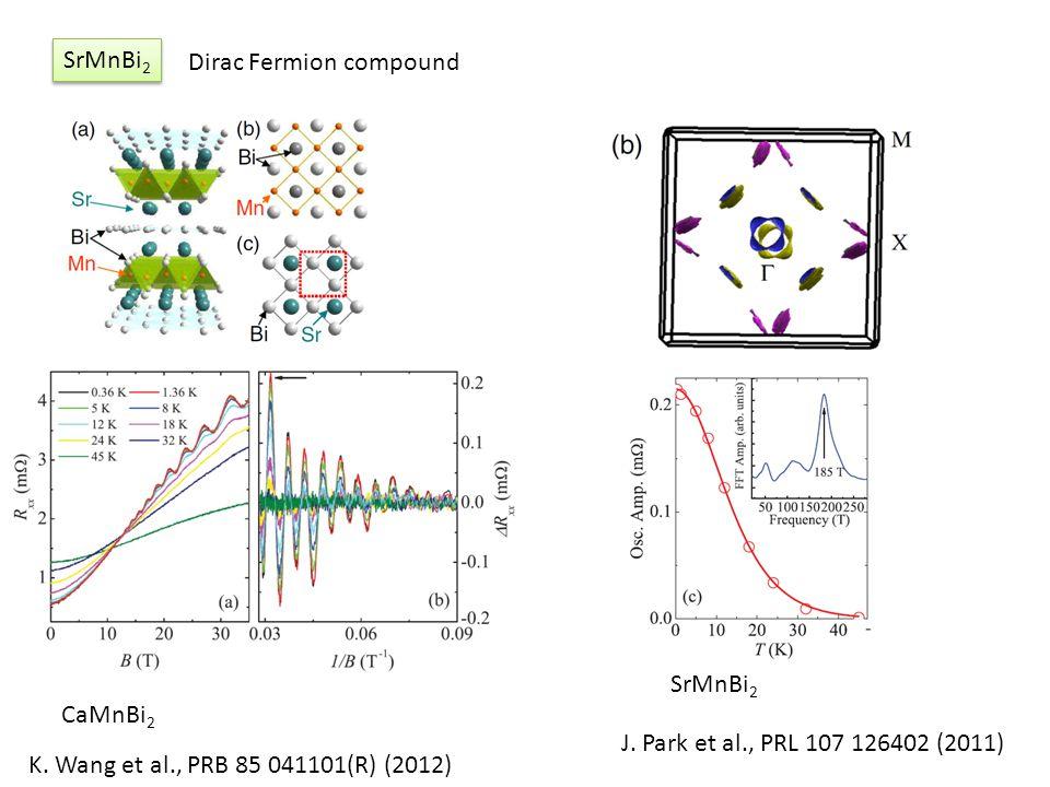 SrMnBi 2 K. Wang et al., PRB 85 041101(R) (2012) J. Park et al., PRL 107 126402 (2011) CaMnBi 2 SrMnBi 2 Dirac Fermion compound