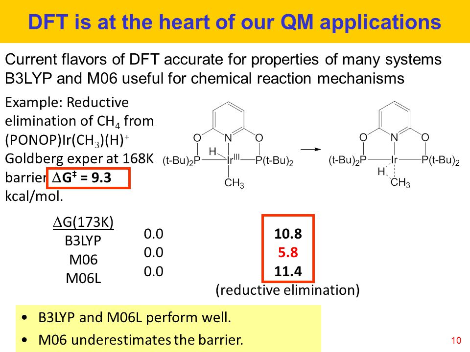 10 DFT is at the heart of our QM applications Current flavors of DFT accurate for properties of many systems B3LYP and M06 useful for chemical reaction mechanisms B3LYP and M06L perform well.