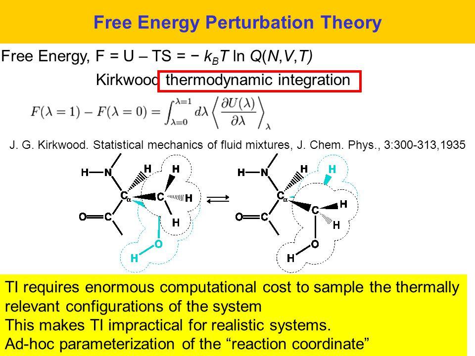38 Free Energy Perturbation Theory Free Energy, F = U – TS = − k B T ln Q(N,V,T) Kirkwood thermodynamic integration J. G. Kirkwood. Statistical mechan