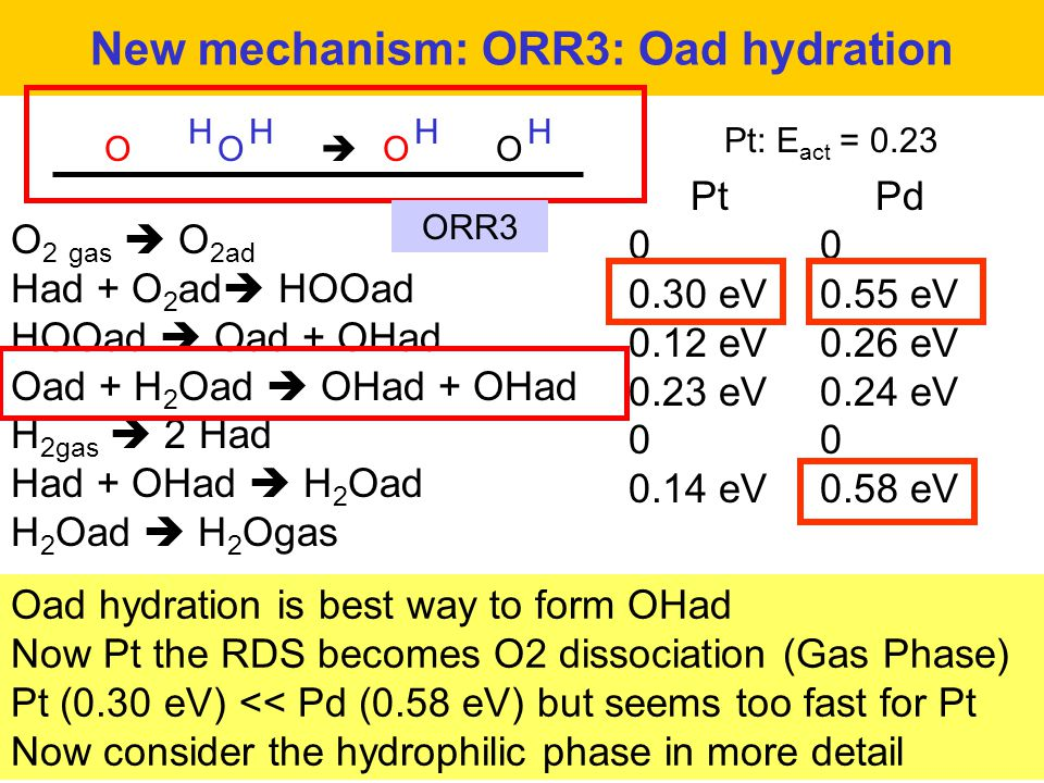 New mechanism: ORR3: Oad hydration Oad hydration is best way to form OHad Now Pt the RDS becomes O2 dissociation (Gas Phase) Pt (0.30 eV) << Pd (0.58 eV) but seems too fast for Pt Now consider the hydrophilic phase in more detail O H O H  O H O H Pt: E act = 0.23 O 2 gas  O 2ad Had + O 2 ad  HOOad HOOad  Oad + OHad Oad + H 2 Oad  OHad + OHad H 2gas  2 Had Had + OHad  H 2 Oad H 2 Oad  H 2 Ogas ORR3 Pt 0 0.30 eV 0.12 eV 0.23 eV 0 0.14 eV Pd 0 0.55 eV 0.26 eV 0.24 eV 0 0.58 eV