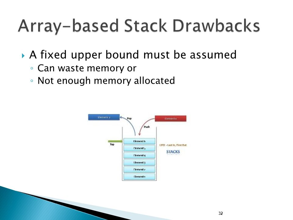 32  A fixed upper bound must be assumed ◦ Can waste memory or ◦ Not enough memory allocated