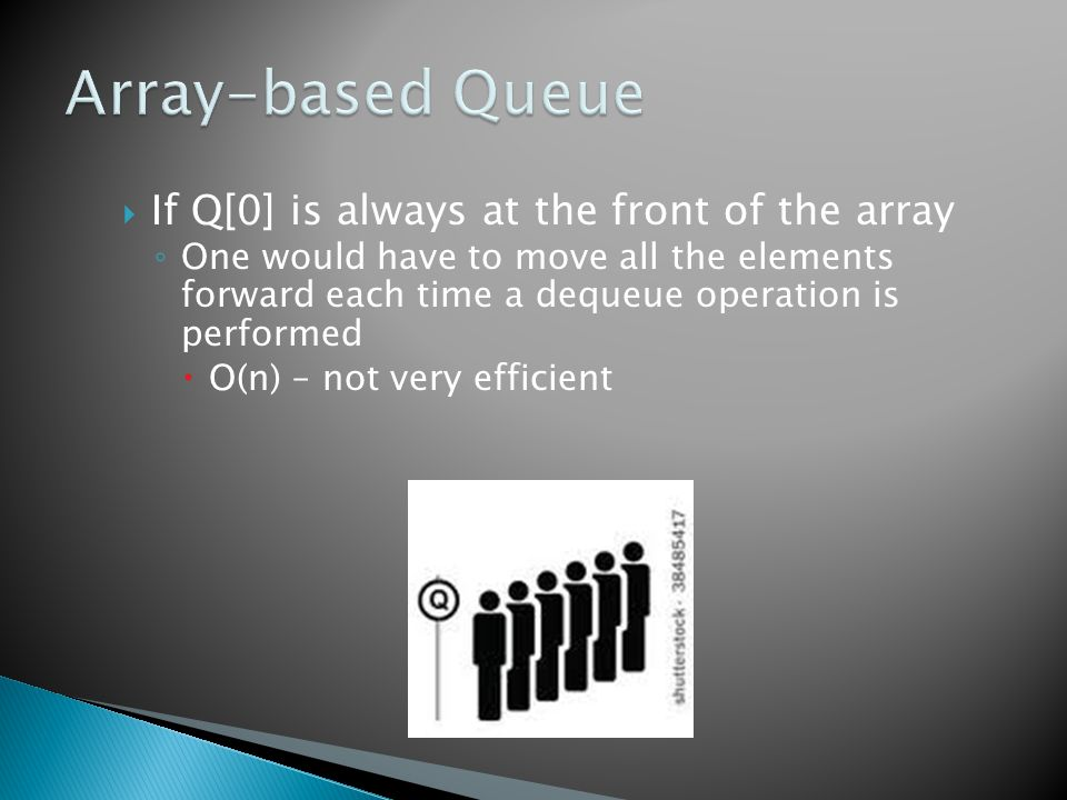 If Q[0] is always at the front of the array ◦ One would have to move all the elements forward each time a dequeue operation is performed  O(n) – not very efficient